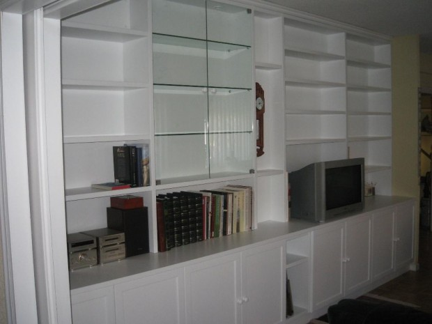 Mueble de sal n en blanco tablas maderas y decoraci n - Salon en blanco ...